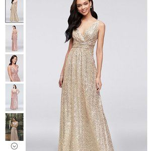 David's Bridal gold sequin gown